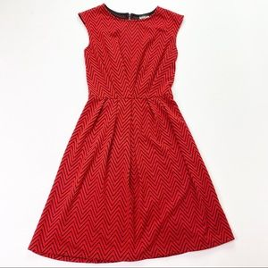 Haani Red Black Zigzag Fit N Flare Career Dress